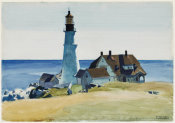 Edward Hopper - Lighthouse and Buildings, Portland Head, Cape Elizabeth, Maine, 1927
