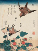 Katsushika Hokusai - Shrike and Bluebird with Begonia and Wild Strawberry, about 1834