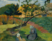 Paul Gauguin - Landscape with Two Breton Women, 1889