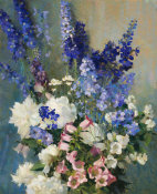 Laura Coombs Hills - Larkspur, Peonies, and Canterbury Bells, about 1926
