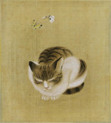 Artist Unknown, Japanese - Sleeping Cat and Butterflies, first half of the 19th century