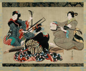 Katsushika Oi - Three Women Playing Musical Instruments, 1818-44