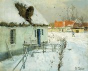 Johan Frederik Thaulow - Cottages in the Snow, 1891