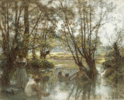 Léon-Augustin Lhermitte - Women and Children Bathing in a River