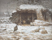 Jean-François Millet - Farmyard in Winter, 1868