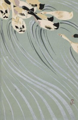 Uzaki Sumikazu - Ducks Swimming Upstream, Late Meiji era