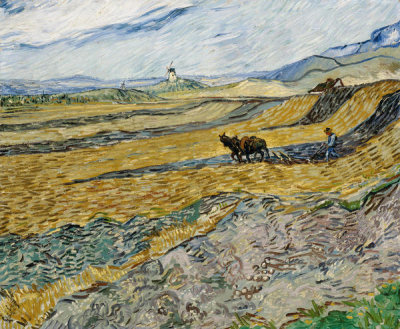 Vincent van Gogh - Enclosed Field with Ploughman, October 1889