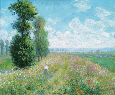 Claude Monet - Meadow with Poplars, about 1875