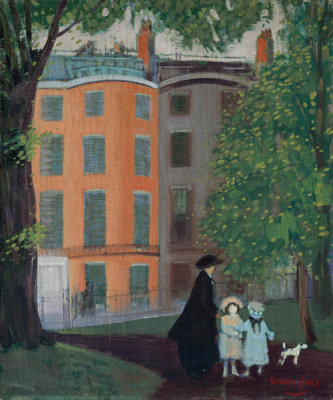 George Benjamin Luks - View of Beacon Street from Boston Common, about 1923