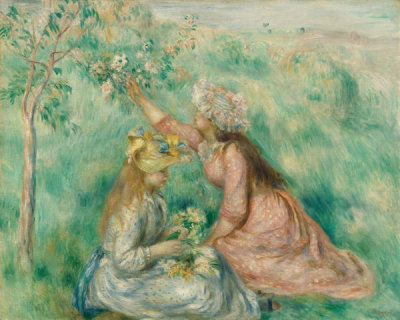 Pierre-Auguste Renoir - Girls Picking Flowers in a Meadow, about 1890