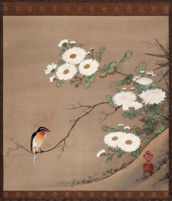 Kano Yosetsu - Flycatcher and Chrysanthemums, 16th century