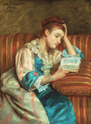 Mary Cassatt - Mrs. Duffee Seated on a Striped Sofa, Reading, 1876