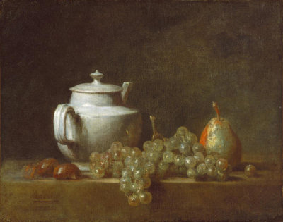 Jean Siméon Chardin - Still Life with Teapot, Grapes, Chestnuts, and a Pear, 17[64?]