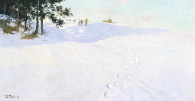 Frits Thaulow - Skiers at the Top of a Snow-covered Hill, 1894