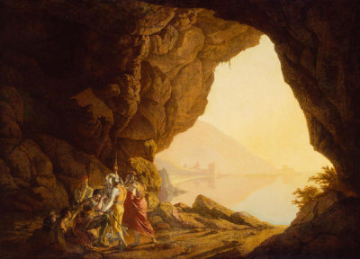Joseph Wright of Derby - Grotto by the Seaside in the Kingdom of Naples with Banditti, Sunset, 1778