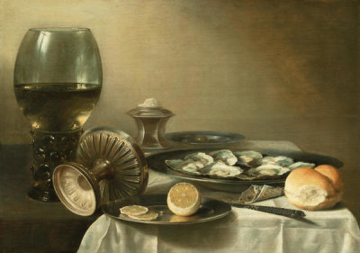 Pieter Claesz. - Still Life with Wine Goblet and Oysters, 1639