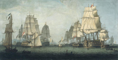 Robert Salmon - The British Fleet Forming a Line off Algiers, 1829